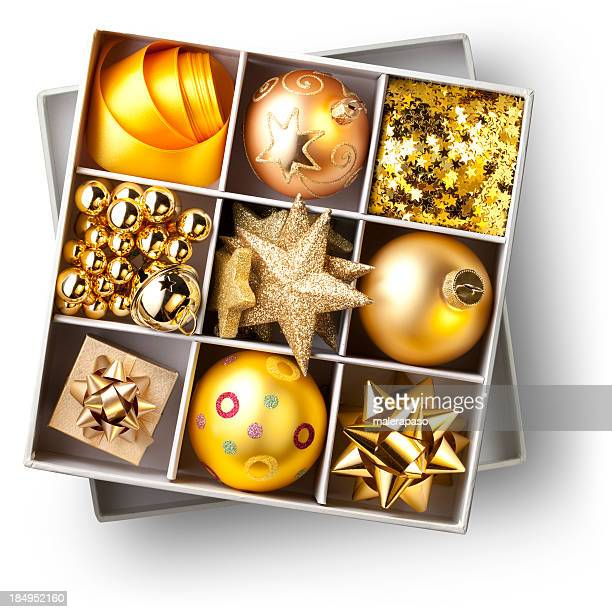 Boîte de golden décorations de Noël