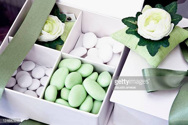 Box of Green and White Candy for Celebration Event