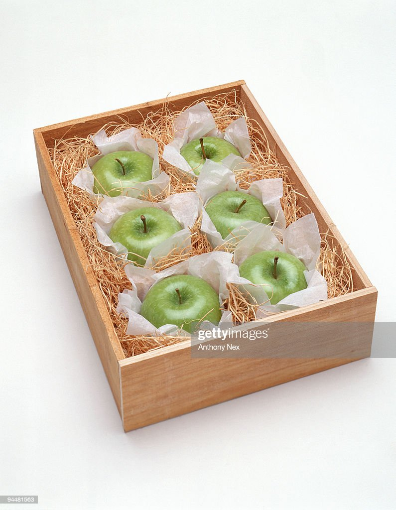 Box of green apples : Stock Photo