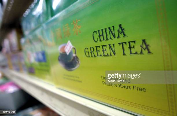 A box of green tea sits on a store shelf July 18 2001 in New York City''s Chinatown A study released July 18 2001 shows that green tea may reduce the...