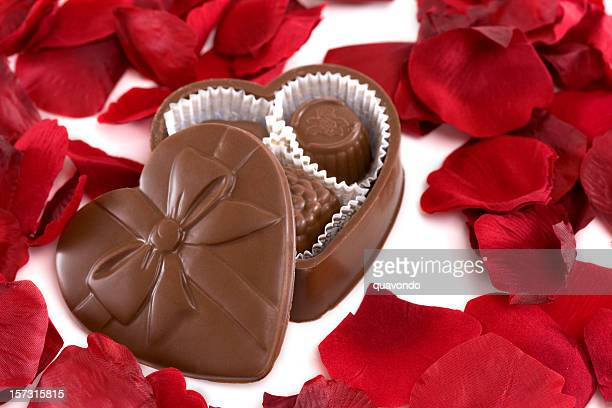 Box of Heart Shaped Chocolate with Rose Petals
