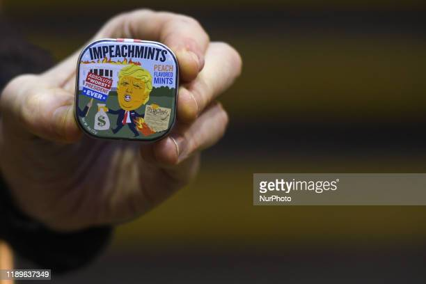 A box of Impeachmints peach flavored mints referring to US President Donal Trump on display outside Dublin's Balla Ban Art Gallery A box of...