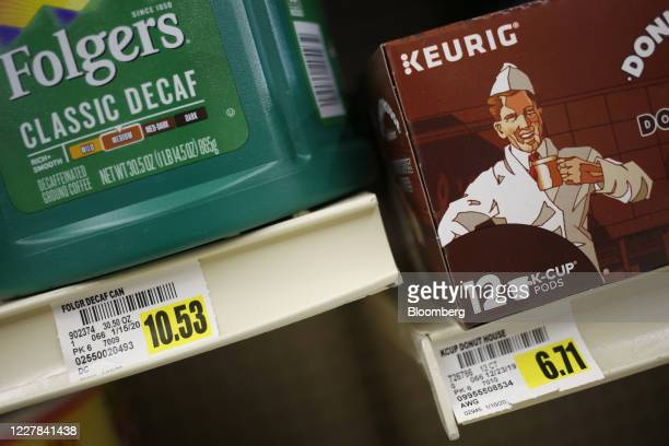 Box of Keurig Dr Pepper Inc. Donut Shop brand K-cup coffee pods are displayed for sale at a grocery store in Louisville, Kentucky, U.S., on Tuesday,...