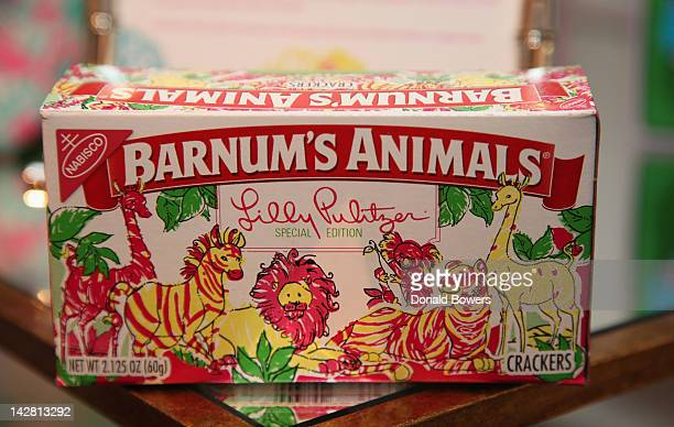 Box of Lilly Pultzer animal crackers at The NYNativesCom Hosted Lilly Pulitzer Shop Share on April 12 2012 in New York City