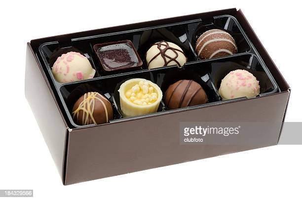 box of luxury chocolates - box of chocolate stock pictures, royalty-free photos & images