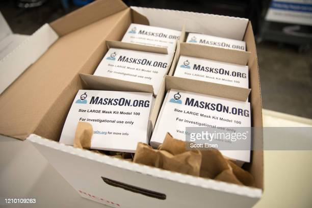 A box of modified scuba masks equipped with custommade air supply adapters is ready to be shipped on April 16 2020 in Haverhill Massachusetts...