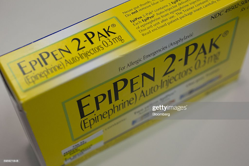 A box of Mylan NV's EpiPen 2-Pak allergy shots sit on