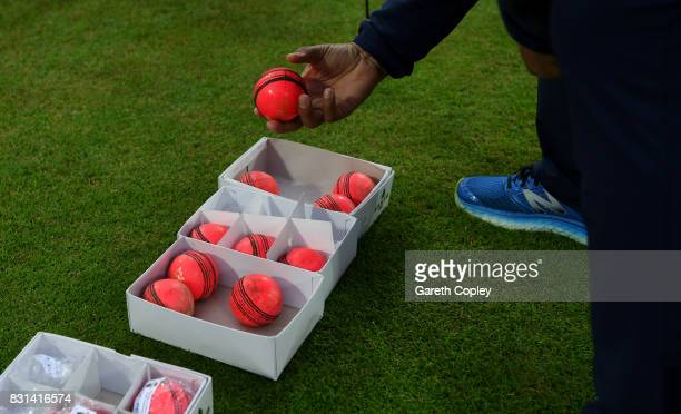 A box of pink balls during a nets session at Edgbaston on August 14 2017 in Birmingham England