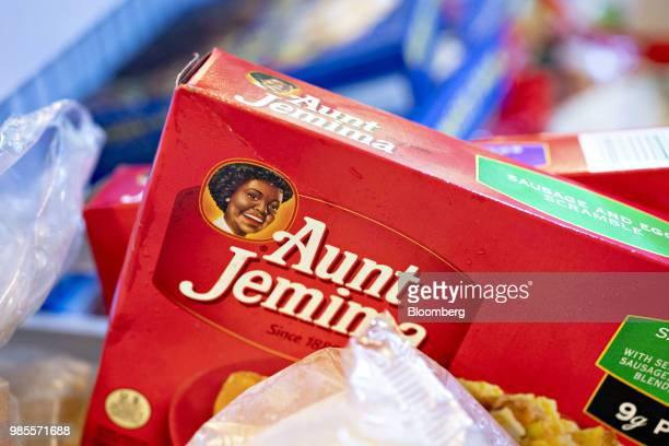 A box of Pinnacle Foods Inc Aunt Jemima Frozen Breakfast brand breakfast is arranged for a photograph in Tiskilwa Illinois US on Wednesday June 27...