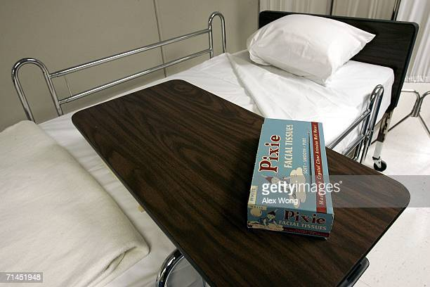 A box of Pixie facial tissues is seen in the setup of the infirmary which is on display at a former government relocation facility also know as the...