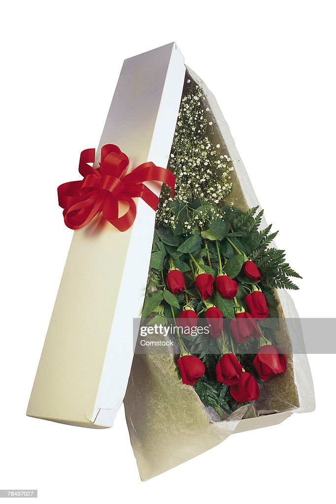 Box of red roses : Stockfoto