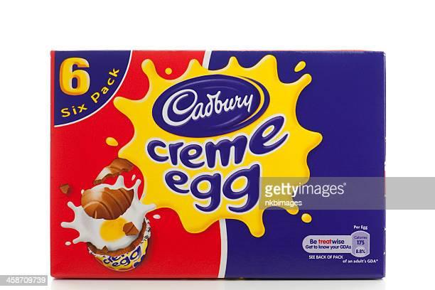 Box of six Cadbury Creme eggs on white background