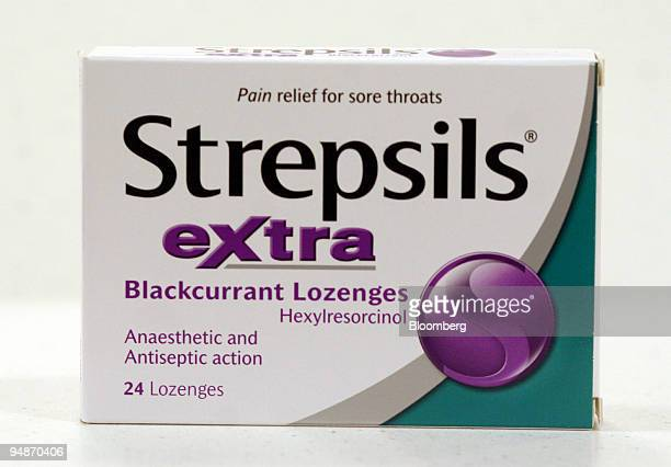 A box of Strepsils is seen in the pharmacy at the Boots flagship store on Oxford Street in London UK on Friday Oct 7 2005 Reckitt Benckiser Plc the...