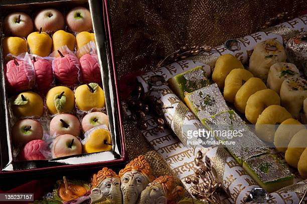 box of sweets - mithai stock pictures, royalty-free photos & images