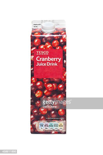 Box of Tesco cranberry juice drink isolated on white