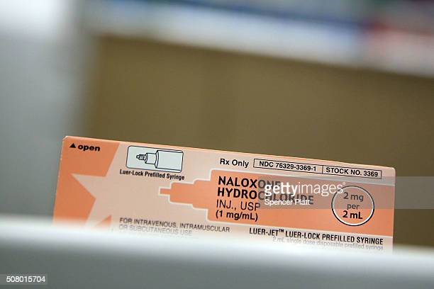 A box of the overdose antidote Naloxone Hydrochloride sits on a counter at a Walgreens store on February 2 2016 in New York City Hundreds of Duane...