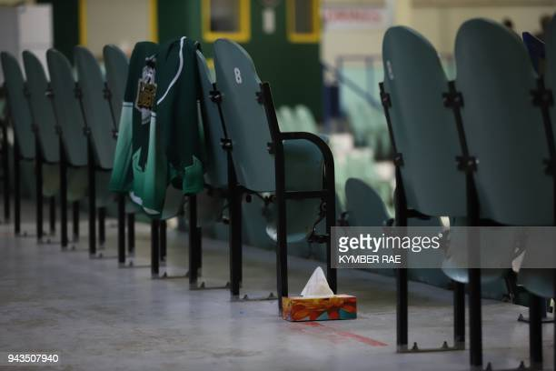 A box of tissues is seen amid seating at the Humboldt Uniplex during preparations for a prayer vigil for the Humboldt Broncos ice hockey team April 8...