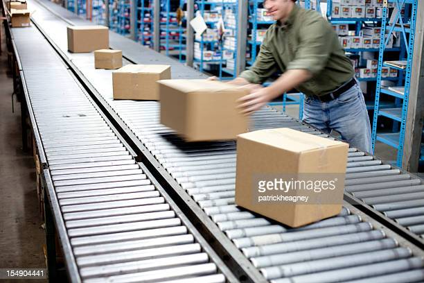 Box on a conveyer belt