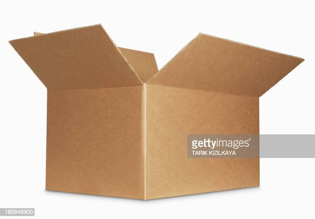 box open isolated over a white background - openmaken stockfoto's en -beelden