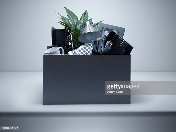 box packed with desk objects - belongings stock photos and pictures