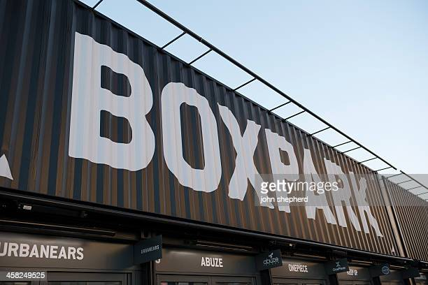 box park, shoreditch, london - shoreditch stock photos and pictures