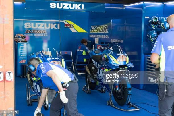 Box Suzuki during Race MotoGP at the Mugello International Cuircuit for the sixth round of MotoGP World Championship Gran Premio d'Italia Oakley on...