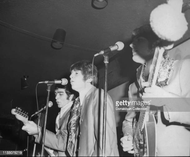 Box Tops members Alex Chilton and Gary Talley performs onstage at the Arthur Club at a press party hosted by Bell Records in 1968 in New York