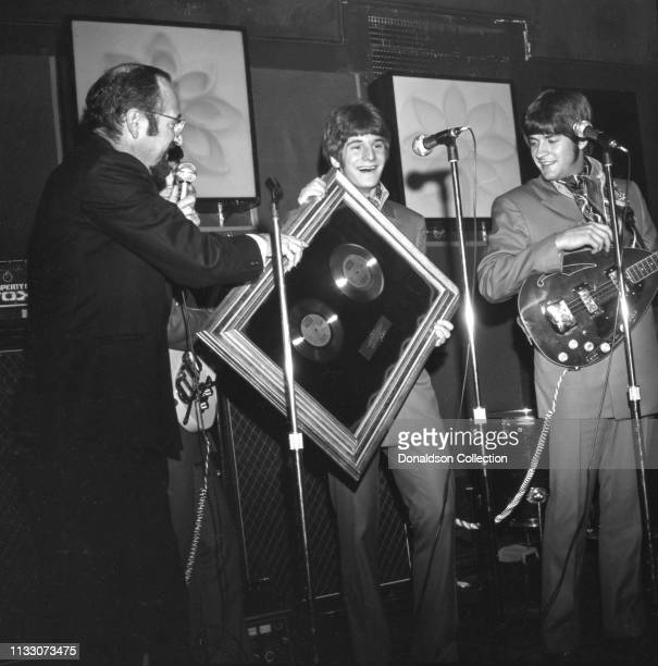 Box Tops members bassist Rick Allen and singer Alex Chilton performs onstage at the Arthur Club at a press party hosted by Bell Records in 1968 in...