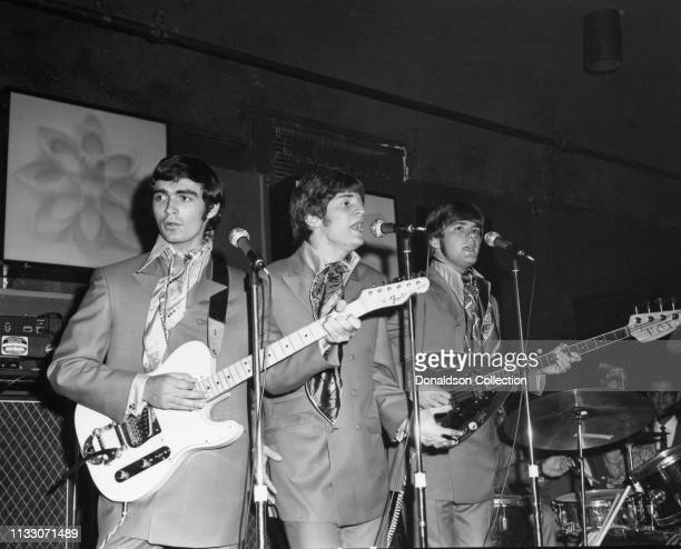 Box Tops members guitarist Gary Talley drummer Thomas Boggs bassist Rick Allen and singer Alex Chilton performs onstage at the Arthur Club at a press...