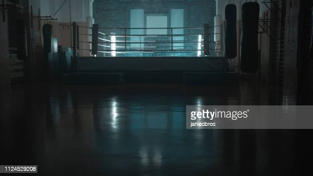 box training interior. boxing ring in background - boxing stock pictures, royalty-free photos & images