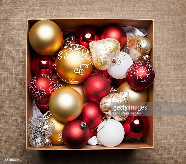 box with christmas decorations. - christmas decoration stock pictures, royalty-free photos & images
