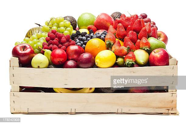 box with fruits - fruit stock pictures, royalty-free photos & images