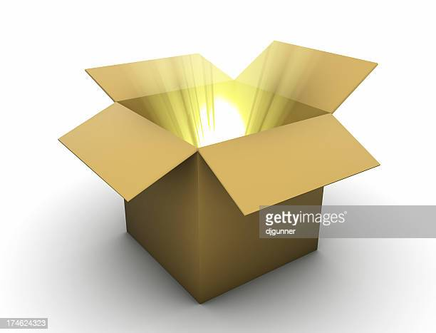 Box with golden lightbeams