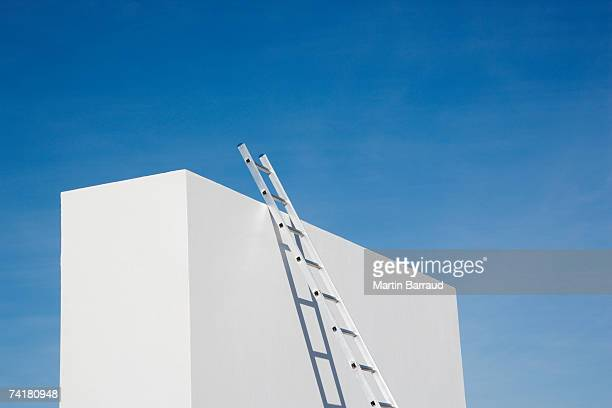 box with ladder and blue sky - ladder stock pictures, royalty-free photos & images