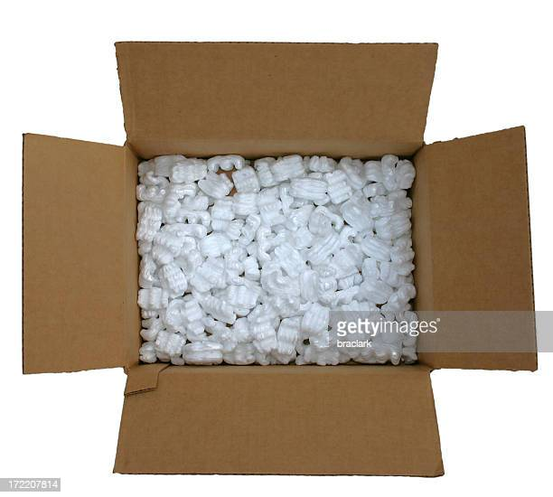 box with packing peanuts - padding stock photos and pictures