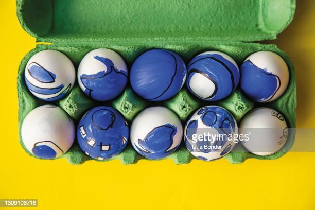 box with painted easter eggs. - easter sunday stock pictures, royalty-free photos & images