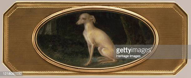 Box with portrait of a whippet late 18th century Artist Joseph Etienne Blerzy JeanBaptiste Isabey