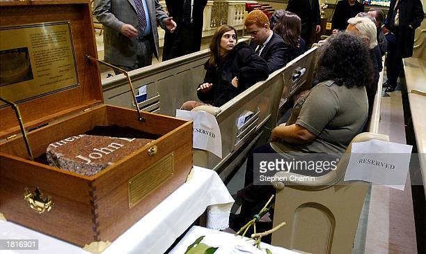 A box with the recovered chunk of engraved granite that was part of a tribute commemorating the 1993 World Trade Center bombing rests on a table as...
