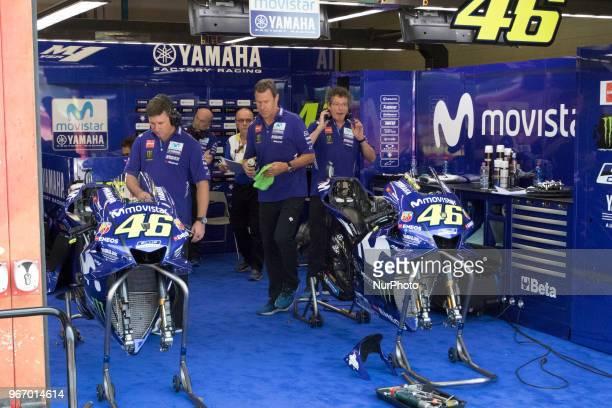 Box Yamaha during Race MotoGP at the Mugello International Cuircuit for the sixth round of MotoGP World Championship Gran Premio d'Italia Oakley on...