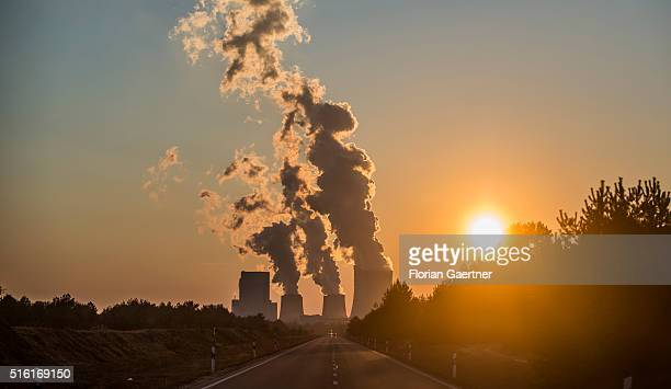 Boxberg Power Station is seen during sunset on March 17 2016 in Boxberg Germany This lignitefired power station is the second largest in Germany