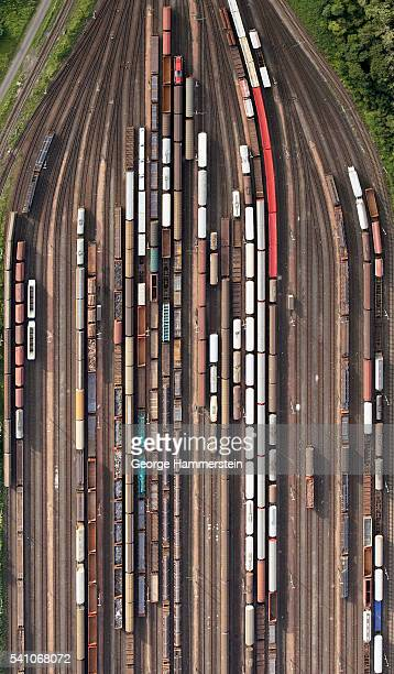 Boxcars on railway tracks
