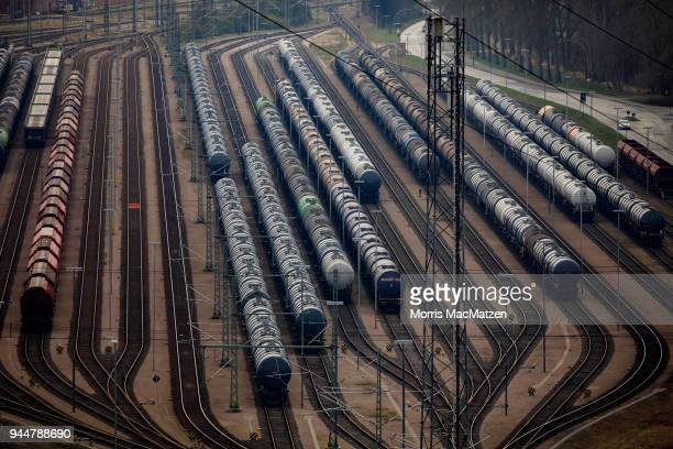 Boxcars stand on sidings at Hamburg Port on April 11 2018 in Hamburg Germany Hamburg Port is Germany's biggest port and handles approximately 145...