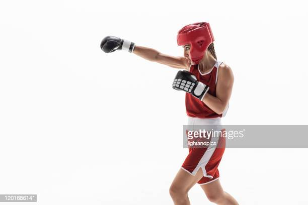 boxe in white studio - headwear stock pictures, royalty-free photos & images