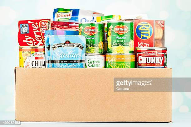 boxed groceries for food drive - canned food stock pictures, royalty-free photos & images