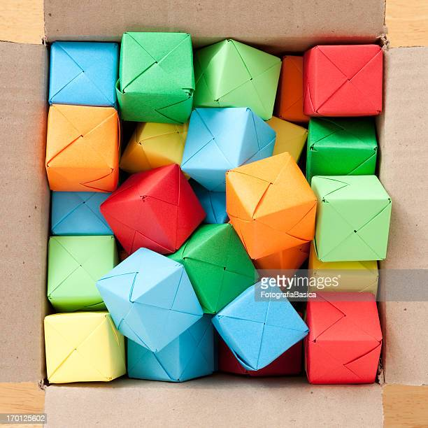 Boxed multicolored cubes