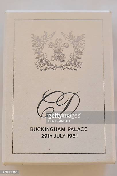 Boxed slice of wedding cake, from the British Royal wedding of Britain's Prince Charles, Prince of Wales and his first wife Diana, collected by...