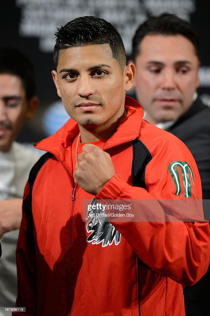 Boxer Abner Mares poses during the final news conference for his bout against Daniel Ponce De Leon at the MGM Grand Hotel/Casino on May 2, 2013 in Las Vegas, Nevada. Mares will challenge Ponce De Leon for the WBC featherweight title.
