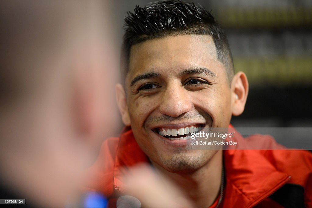 Boxer Abner Mares speaks to the media during the final news conference for his bout against Daniel Ponce De Leon at the MGM Grand Hotel/Casino on May 2, 2013 in Las Vegas, Nevada. Mares will challenge Ponce De Leon for the WBC featherweight title.