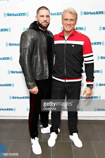 Boxer/ actor Florian Munteanu and actor Dolph Lundgren visit the SiriusXM Studios on November 13 2018 in New York City