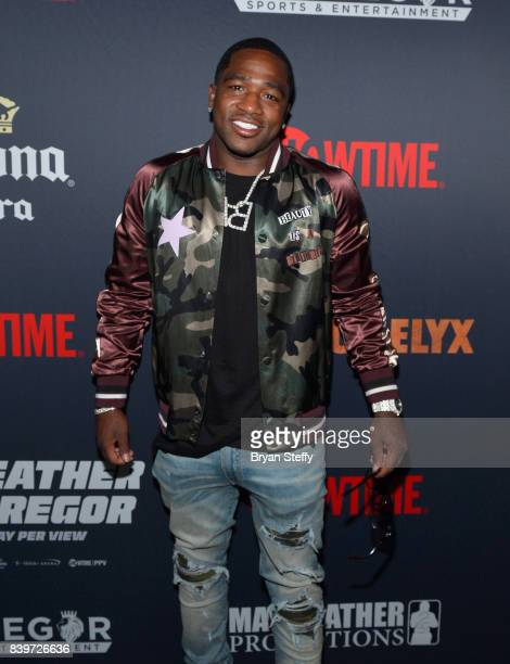 Boxer Adrien Broner attends the Showtime WME IME and Mayweather Promotions VIP PreFight party for Mayweather vs McGregor at TMobile Arena on August...